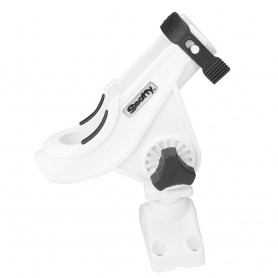 Scotty 280 Bait Caster-Spinning Rod Holder w-241 Deck-Side Mount - White