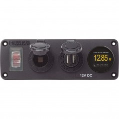 Blue Sea 4366 Water Resistant USB Accessory Panel - Circuit Breaker- 12V Socket- Dual USB Charger- Mini Voltmeter