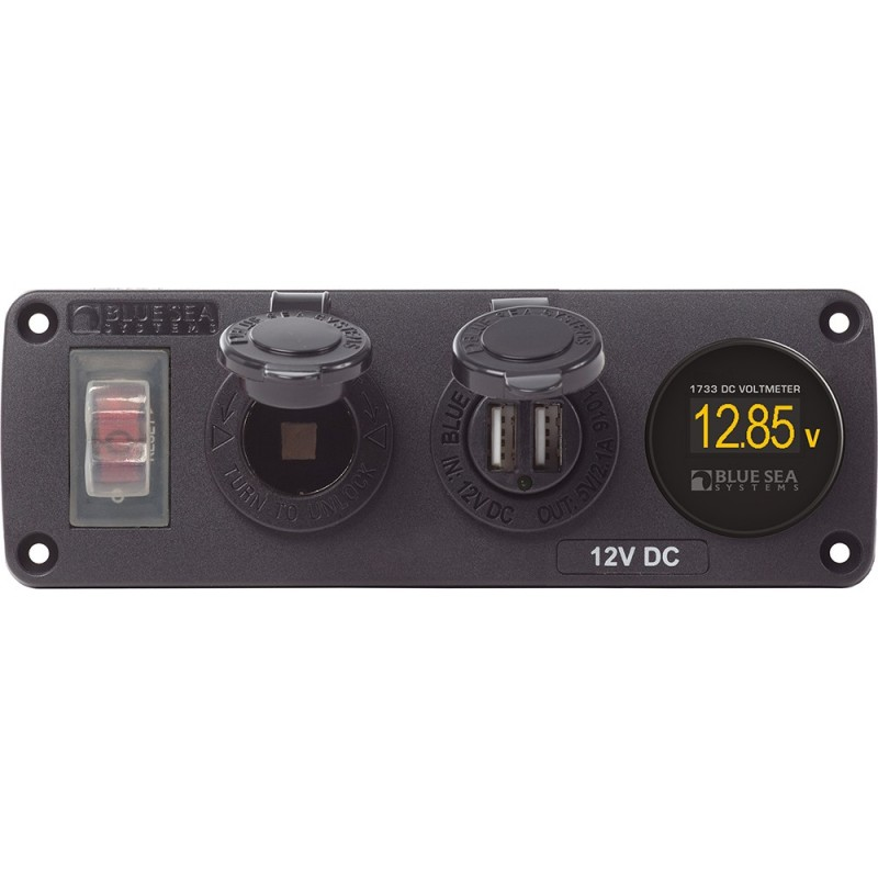 Blue Sea 4366 Water Resistant USB Accessory Panel - Circuit Breaker- 12V Socket- Dual USB Charger- Mini Voltmeter