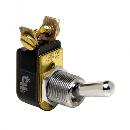 Cole Hersee Light Duty Toggle Switch SPST Off-On 2 Screw - Nickel Plated Brass