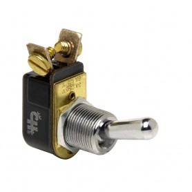 Cole Hersee Light Duty Toggle Switch SPST Off-On 2 Screw - Chrome Plated Brass