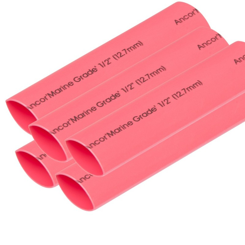 Ancor Heat Shrink Tubing 1-2- x 6- - Red - 5 Pieces