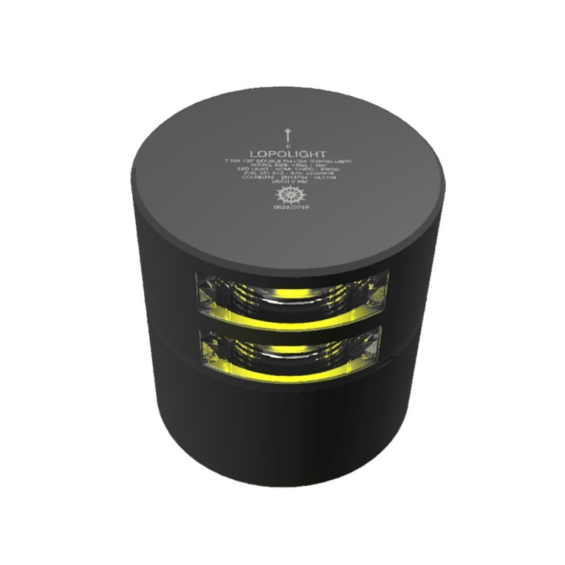 Lopolight Double Stern Towing Light - 2nm - Black Housing - Horizontal Mount