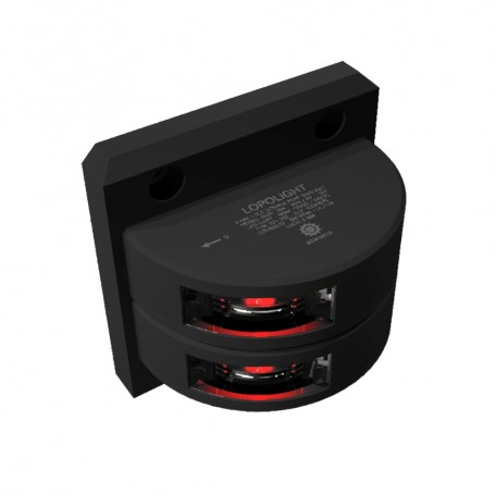 Lopolight Double Port SideLight - Vertical Mount - Black Housing - 2nm - Red
