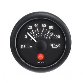 VDO Viewline 2-1-16- -52MM- Onyx Oil Pressure Gauge -100 PSI-