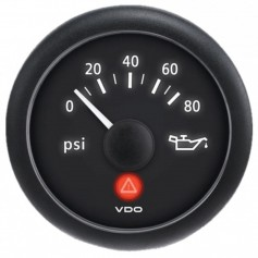 VDO ViewLine Onyx 80 PSI Oil Pressure Gauge 12-24V w-VDO Sender US Thread Adapters