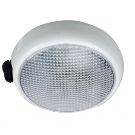 Perko Round Surface Mount LED Dome Light - White Powder Coat - w- Switch