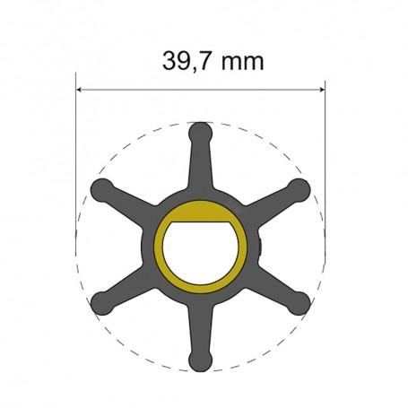 Albin Pump Premium Impeller Kit - 39-7 x 12 x 19-2mm - 6 Blade - Single Flat Insert