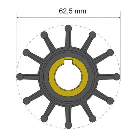 Albin Pump Premium Impeller Kit 62-5 x 16 x 32mm - 12 Blade - Key Insert