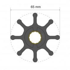 Albin Pump Premium Impeller Kit 65 x 16 x 37mm - 8 Blade - Spline Insert