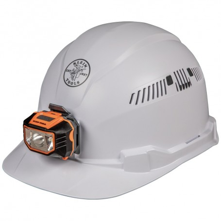 Klein Tools Hard Hat Vented Cap Style White w-Headlamp