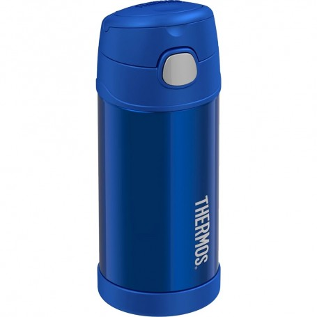 Thermos FUNtainer Stainless Steel Insulated Blue Water Bottle w-Straw - 12oz