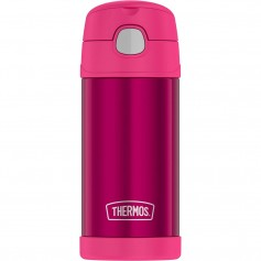 Thermos FUNtainer Stainless Steel Insulated Pink Water Bottle w-Straw - 12oz