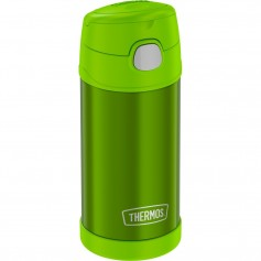 Thermos FUNtainer Stainless Steel Insulated Green Water Bottle w-Straw - 12oz