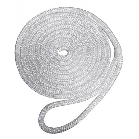 Robline Premium Nylon Double Braid Dock Line - 1-2- x 15 - White