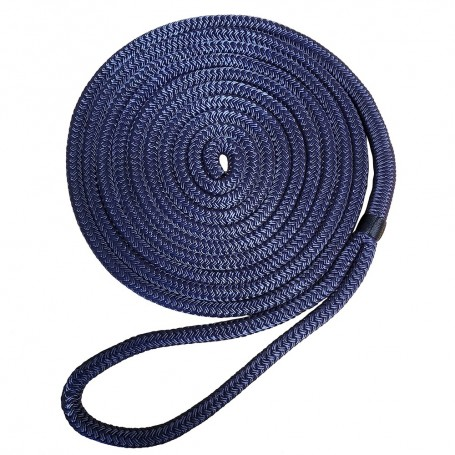 Robline Nylon Double Braid Dock Line - 1-2- x 15 - Navy Blue