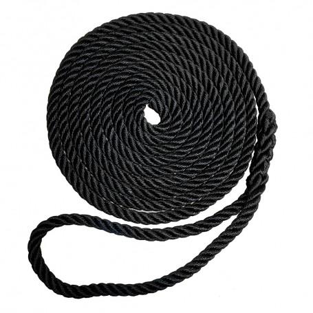 Robline Premium Nylon 3 Strand Dock Line - 3-8- x 15 - Black