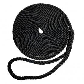 Robline Premium Nylon 3 Strand Dock Line - 3-8- x 20 - Black