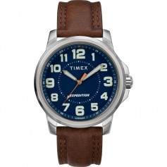 Timex Mens Expedition Metal Field Watch - Blue Dial-Brown Strap