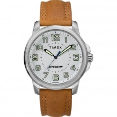 Timex Mens Expedition Metal Field Watch - White Dial-Brown Strap
