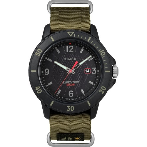 Timex Gallatin Nylon Slip-Thru Watch - Solar Green-Black Dial