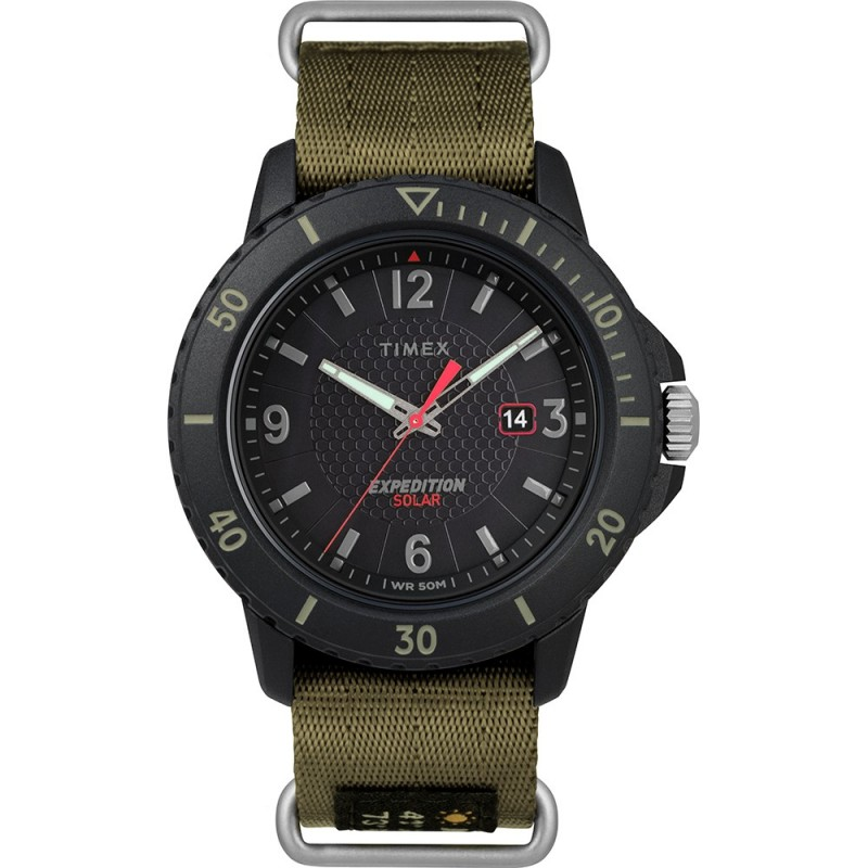 Timex Gallatin Nylon Slip-Thru Watch - Solar Green-Black Dial