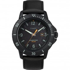 Timex Gallatin Solar Watch - Leather Strap-Black Dial