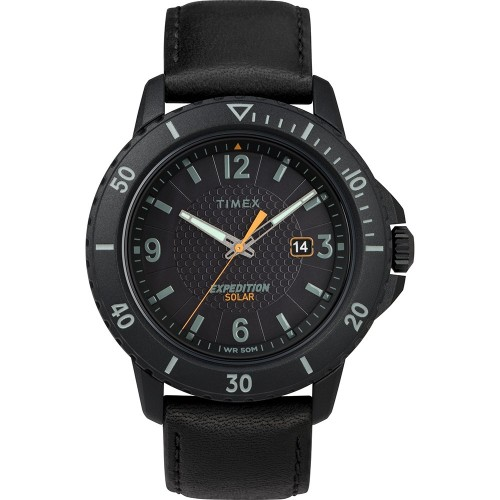 Timex Gallatin Solar Watch - Leather Strap-Black Dial