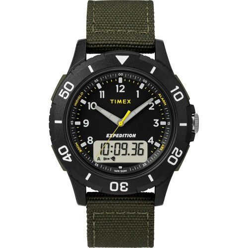 Timex Expedition Katmai Combo 40mm Watch - Black Case Dial-Green Strap