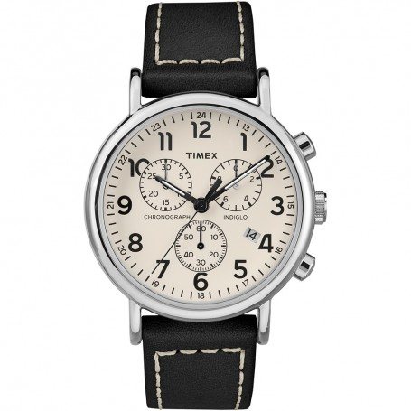 Timex Mens Weekender Chronograph 40mm Watch - White Dial-Black Leather Strap