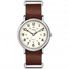 Timex Weekender Slip-Thru - Brown Leather Strap