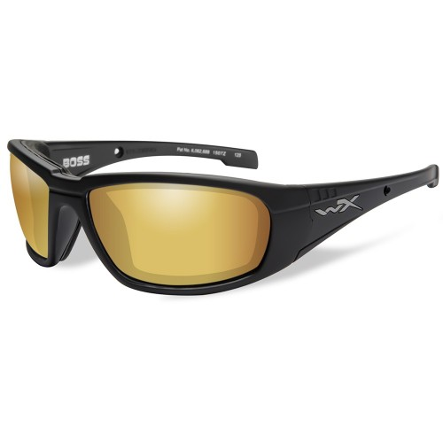 Wiley X Boss Polarized Venice Sunglasses - Gold Mirror Lens - Matte Black Frame