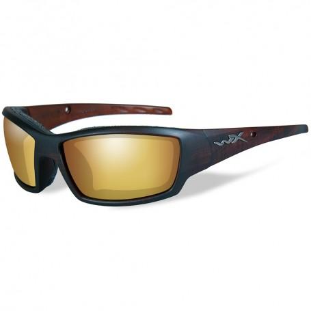 Wiley X Tide Polarized Venice Sunglasses - Gold Mirror Lens - Matte Brown Frame