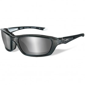 Wiley X Brick Sunglasses - Silver Flash Lens - Crystal Metallic Frame