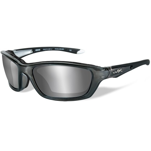 Wiley X Brick Sunglasses - Silver Flash Lens - Crystal Metallic Frame