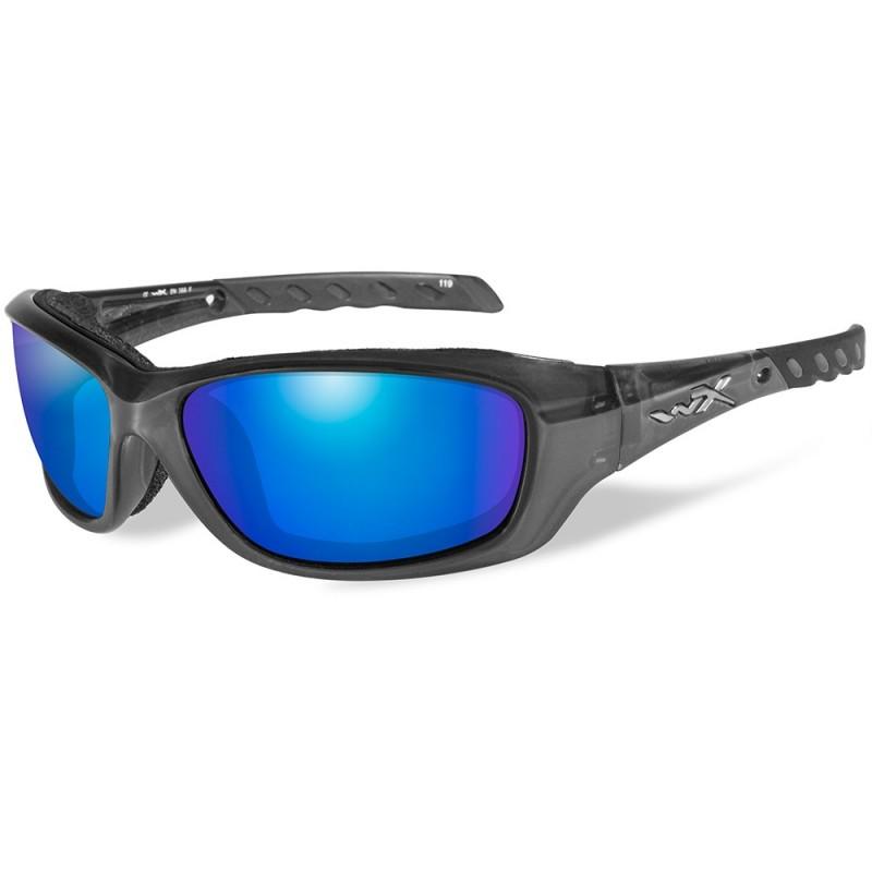 Wiley X Gravity Polarized Sunglasses - Blue Mirror Lens - Black Crystal Frame