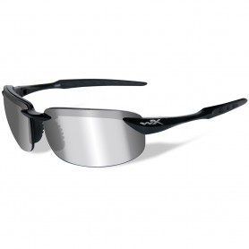 Wiley X Tobi Polarized Sunglasses - Silver Flash Lens - Gloss Black Frame