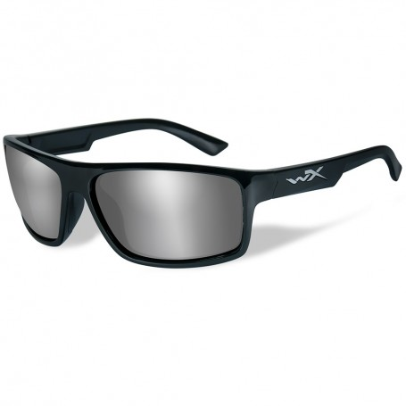 Wiley X Peak Sunglasses - Silver Flash Lens - Gloss Black Frame