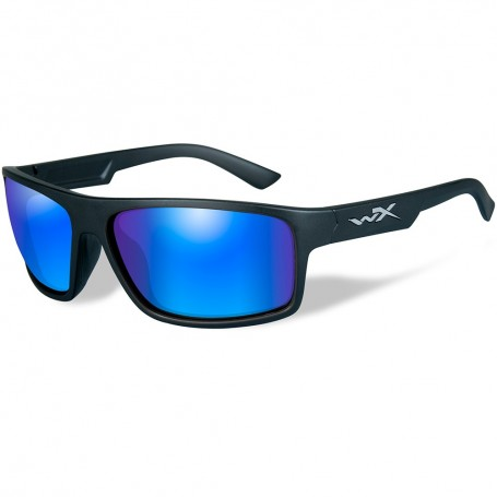 Wiley X Peak Polarized Sunglasses - Blue Mirror Lens - Matte Black Frame