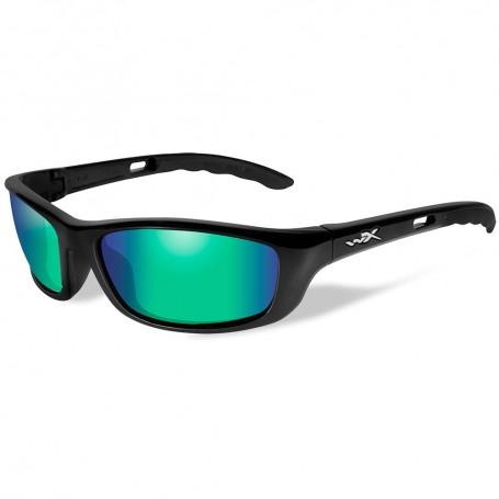 Wiley X P-17 Polarized Sunglasses - Emerald Mirror Lens - Gloss Black Frame