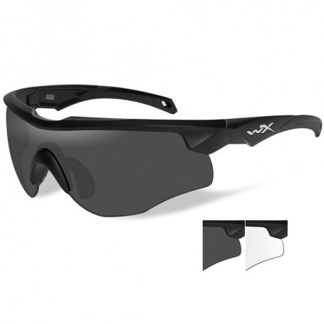 Wiley X Rogue Sunglasses - Smoke Grey-Clear Lens - Matte Black Frame