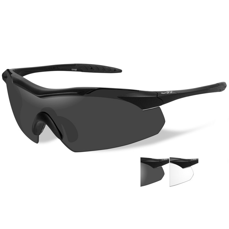 Wiley X Vapor Sunglasses - Smoke Grey-Clear Lens - Matte Black Frame