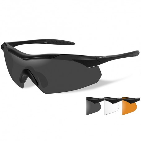 Wiley X Vapor Sunglasses - Smoke Grey-Clear-Rust Lens - Matte Black Frame