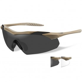 Wiley X Vapor Sunglasses - Smoke Grey-Clear Lens - Tan Frame