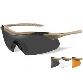 Wiley X Vapor Sunglasses - Smoke Grey-Clear-Rust Lens - Tan Frame