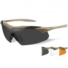Wiley X Vapor Sunglasses - Smoke Grey-Clear-Rust Lens - Tan Frame