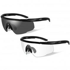 Wiley X Saber Advanced Sunglasses - Smoke Grey-Clear Lens - 2 Matte Black Frames