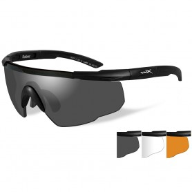 Wiley X Saber Advanced Sunglasses - Smoke Grey-Clear-Rust Lens - Matte Black Frame