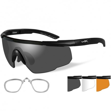 Wiley X Saber Advanced Sunglasses - Smoke Grey-Clear-Rust - Lens - Matte Black Frame w-Rx Insert