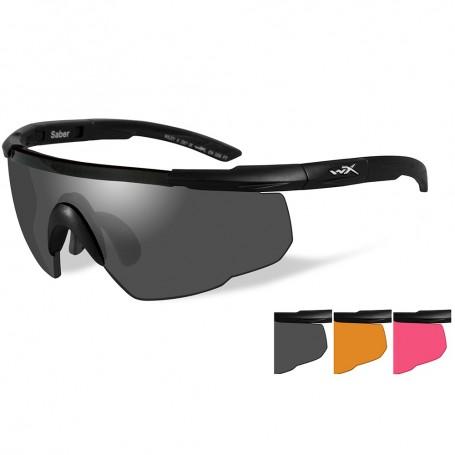 Wiley X Saber Advanced Sunglasses - Smoke Grey-Light Rust-Vermillion Lens - Matte Black Frame